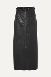 Ayona belted faux leather maxi skirt