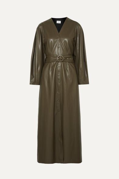 f086ac274107 Nanushka. Femme belted vegan leather midi dress