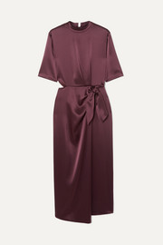 Saffron cutout satin midi dress