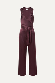 Knotted wrap-effect satin jumpsuit