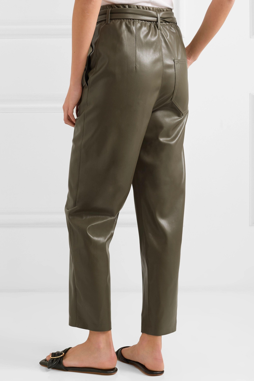 Nanushka Pantalon droit en cuir vegan à ceinture Kedu