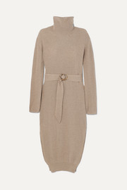 Nanushka Belted ribbed-knit turtleneck midi dress