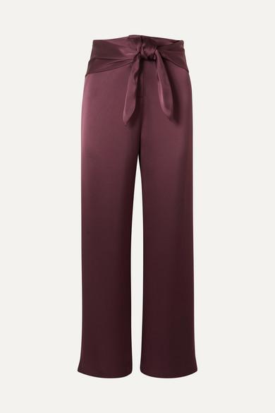 NANUSHKA | Nanushka - Siona Knotted Satin Straight-leg Pants - Burgundy | Goxip