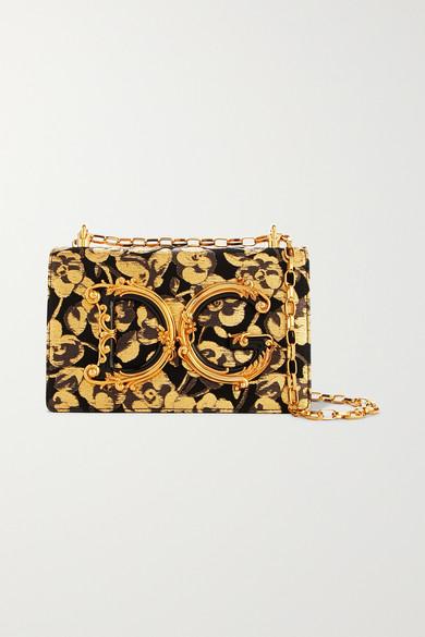 Embellished Floral Jacquard And Ayers Shoulder Bag by Dolce & Gabbana