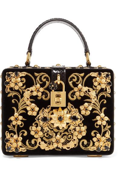 Dolce Box Embellished Embroidered Ayers Trimmed Velvet Shoulder Bag by Dolce &Amp; Gabbana