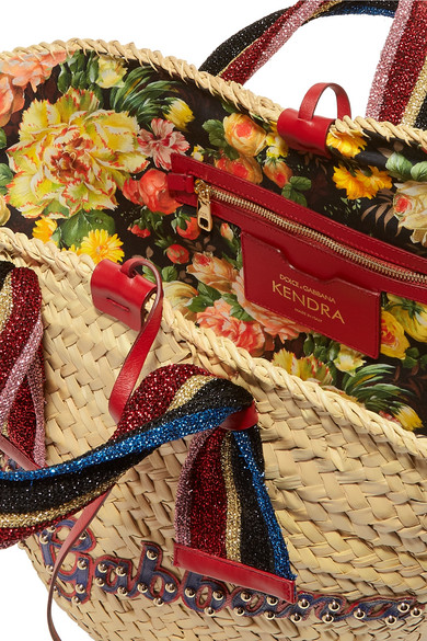 Dolce   Gabbana. Kendra lurex-trimmed embellished straw tote.  1 92aa393dcea