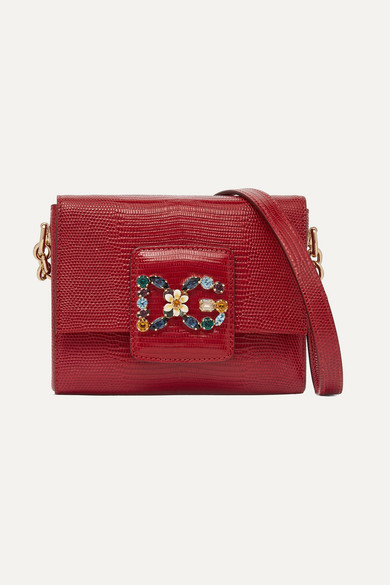 Millennials Embellished Lizard-Effect Leather Shoulder Bag in Red