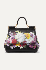 Sicily medium floral-print textured-leather tote