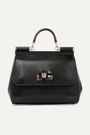Dolce & Gabbana Sicily medium embellished lizard-effect leather tote