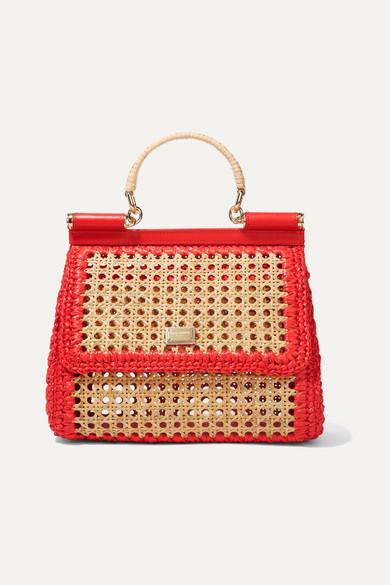 Dolce & Gabbana - Sicily medium leather-trimmed raffia tote