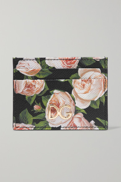 Floral-Print Textured-Leather Cardholder in Pink