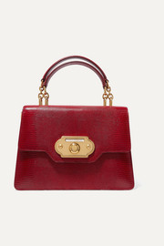 Welcome medium lizard-effect leather tote