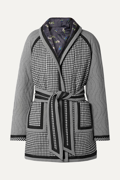 Reversible Belted Printed Woven And Satin Coat in Black from OPENING CEREMONY
