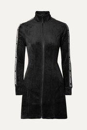 Opening Ceremony Intarsia-trimmed velour mini dress