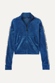 Opening Ceremony Cropped intarsia-trimmed velour jacket