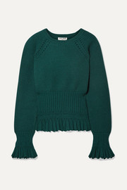 Opening Ceremony Ruffled pointelle-trimmed knitted sweater