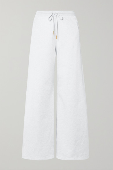 Cotton-Terry Track Pants in Light Gray
