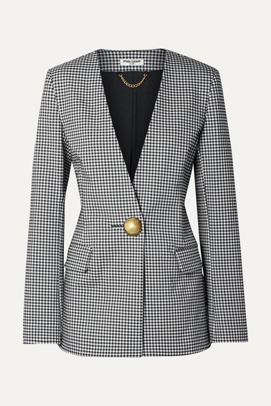 Black & White Check Tailored Blazer in Gray from OPENING CEREMONY