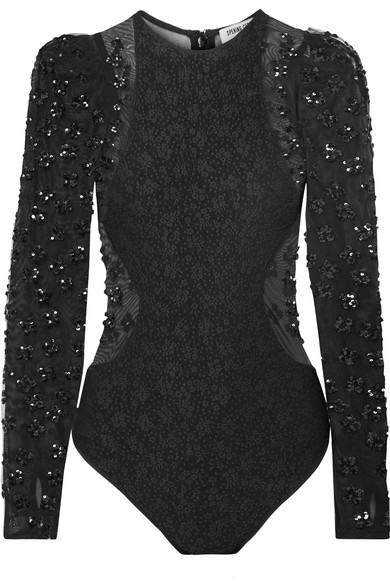 Sequined Jacquard-Knit & Tulle Bodysuit - Black Size M from OPENING CEREMONY