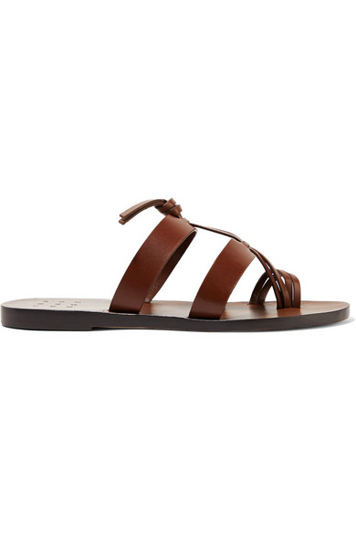 TRADEMARK | Trademark - Capra Knotted Leather Sandals - Brown | Goxip