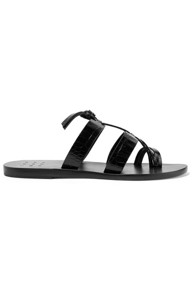 TRADEMARK | Trademark - Capra Knotted Croc-effect Leather Sandals - Black | Goxip