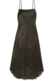 Teardrop asymmetric silk-charmeuse midi dress