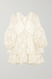 Pompom-embellished paneled cotton and silk-blend guipure lace mini dress
