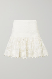 Corsage pompom-embellished guipure lace and Swiss dot-tulle mini skirt