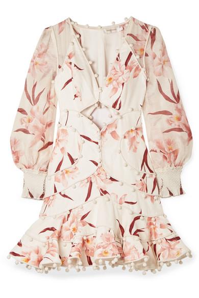 233d54997878 Zimmermann Corsage Pompom-Embellished Cutout Floral-Print Linen Mini Dress  In Ivory. SIZE & FIT INFORMATION
