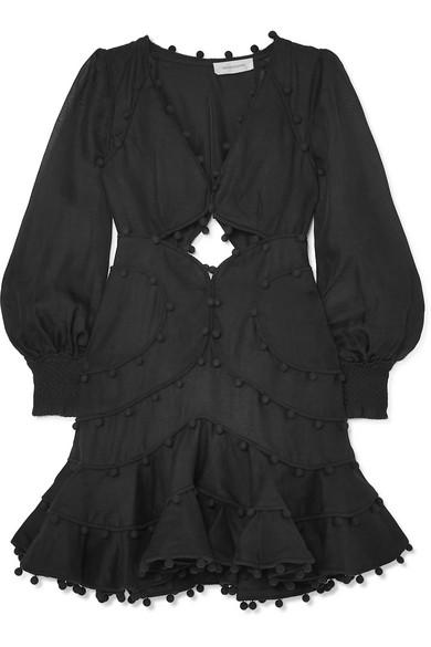 Corsage Bauble Pompom Embellished Linen Mini Dress In Black