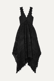 Zimmermann Asymmetric canvas-paneled crochet-trimmed lace maxi dress