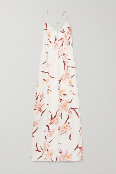 Corsage Floral Strappy-Back Maxi Dress in Blush