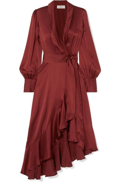 Espionage asymmetric ruffled silk satin wrap dress