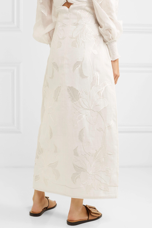 Zimmermann Corsage embroidered linen and silk-blend canvas skirt