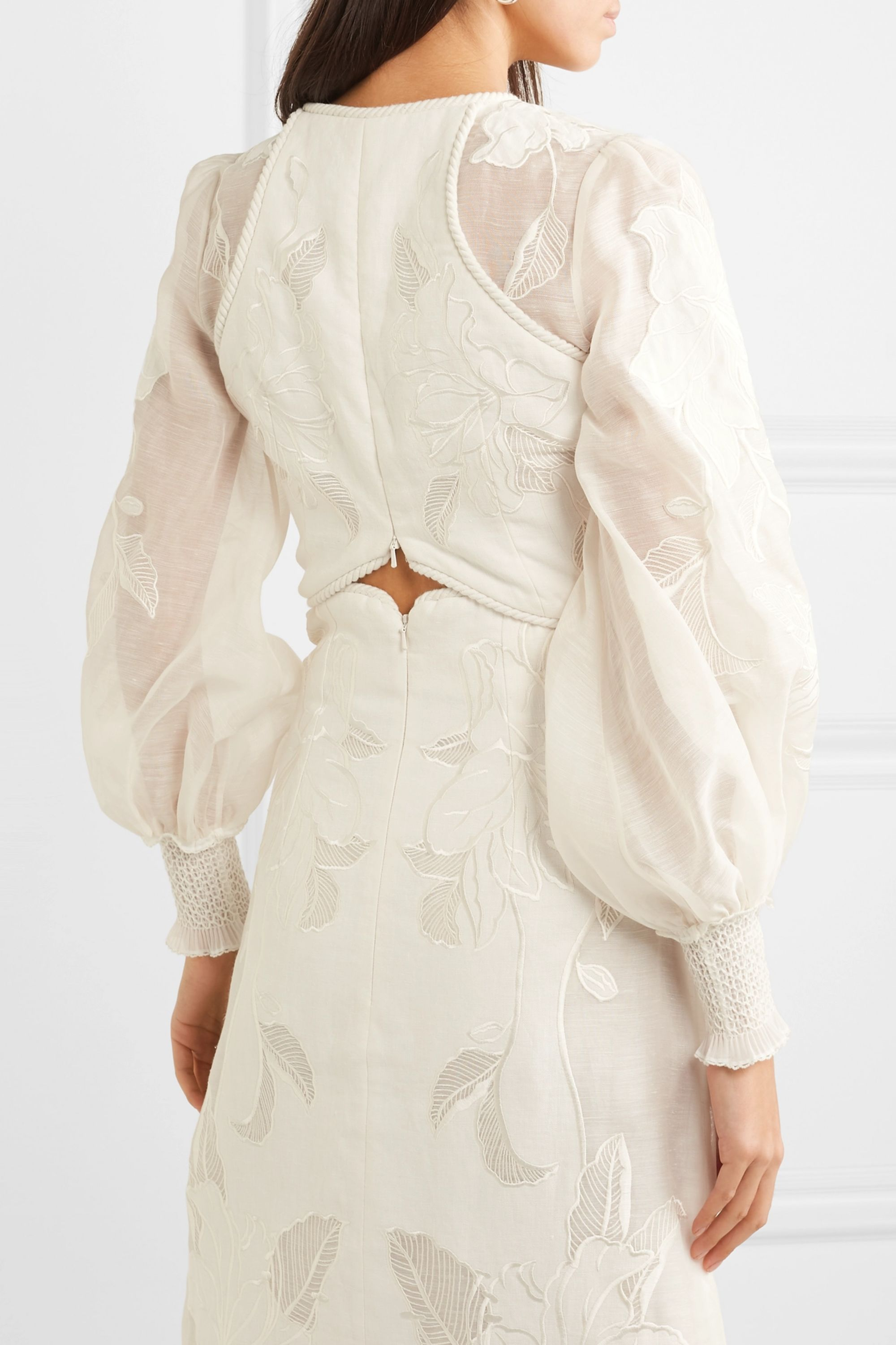 Zimmermann Corsage cropped embroidered linen and silk-blend canvas top