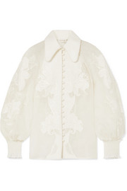 Zimmermann Corsage appliquéd linen and silk-blend blouse