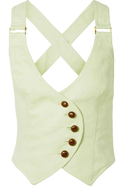 Zimmermann Corsage cropped open-back linen vest