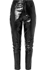 Dreams textured patent-leather slim-leg pants