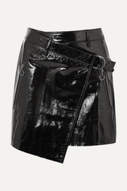 Textured patent-leather wrap mini skirt
