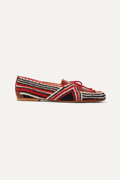 Hays Croc-Effect Leather And Crocheted Loafers in Brown