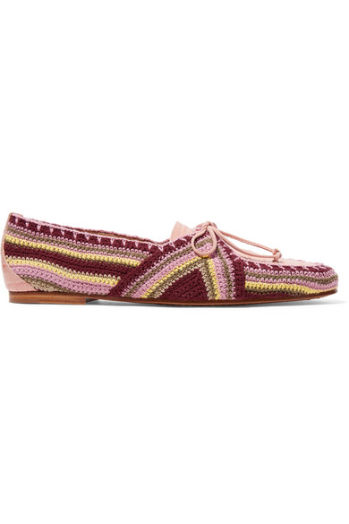 Hays Croc-Effect Leather And Crocheted Loafers in Blush