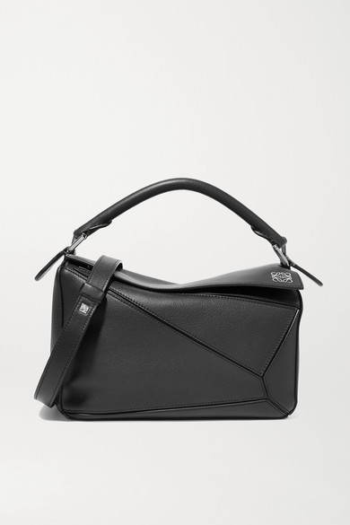 Loewe Puzzle Small Leather Shoulder Bag In Black
