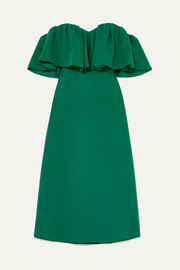 Lela Rose Off-the-shoulder ruffled silk-cady dress