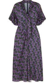 Pussy-bow printed crepe de chine midi dress