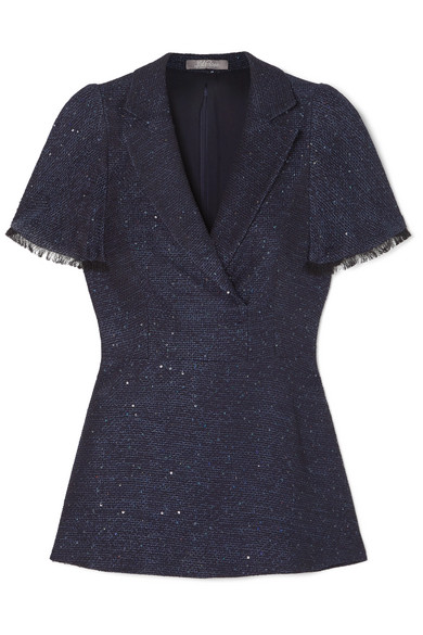 LELA ROSE | Lela Rose - Frayed Sequin-embellished Tweed Peplum Top - Navy | Goxip