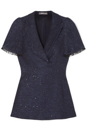 Lela Rose Frayed sequin-embellished tweed peplum top