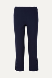 Lela Rose Cropped wool-blend cady straight-leg pants