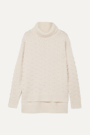 Lela Rose Bobble-knit wool and cashmere-blend turtleneck sweater
