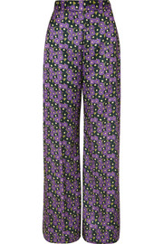 Lela Rose Floral-print satin-twill wide-leg pants