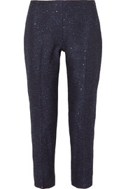 Lela Rose Sequin-embellished tweed straight-leg pants